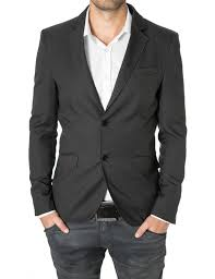 casual blazer mens slim fit casual blazer with contrast details charcoal by
