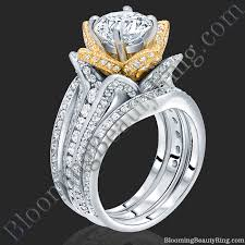 yellow gold wedding ring sets 2 38 ctw band two toned white and yellow gold flower