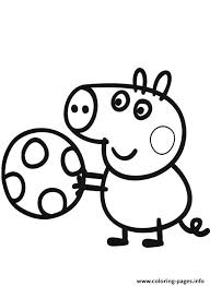 peppa pig play soccer coloring pages printable