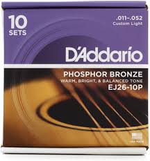 d addario ej26 phosphor bronze custom light acoustic strings 10