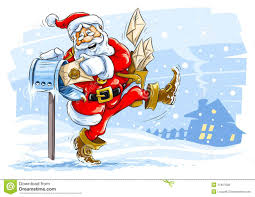 happy santa claus postman with christmas letters stock photo