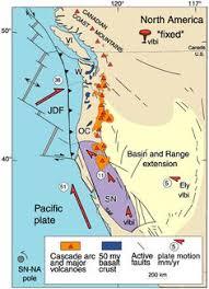 physical map of oregon juan de fuca plate farallon plate plate tectonics
