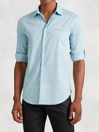 john varvatos roll sleeve button up shirt in blue for men lyst