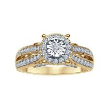 gold vintage engagement rings split shank vintage diamond engagement ring in yellow gold 1 3ctw