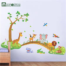 stickers muraux chambre grand jungle animaux pont vinyle stickers muraux enfants chambre
