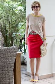 casual pencil skirt skirt and wide top creating a casual formal look