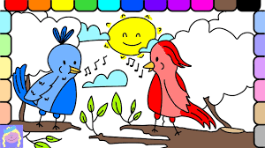 learn how to draw and color singing birds easy drawing and