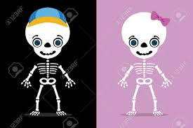 halloween kids cartoons set of two kids skeletons halloween royalty free cliparts