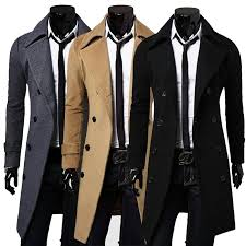 men trench coat winter long wool jacket double breasted parka