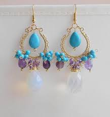 Beaded Chandelier Earrings 18 For Amethyst Opal Howlite Gemstone Chandelier Earrings Purple