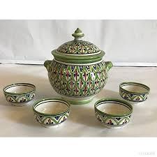cuisine arabe 4 soupière 4 tasses céramique terre cuite marocaine soupe fondue