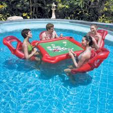 Pool Chairs Texas Hold U0027em Floating Swimming Pool Poker Set W Lounge Chairs