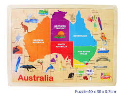 austrial map australia map wooden jigsaw puzzle woodland toys
