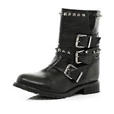 womens boots rivers black studded buckle biker boots ankle boots shoes boots