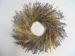 dried wheat and lavender wreath