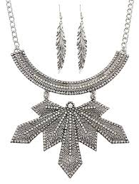 cheap necklace chains images Silver leaf design pendant chain necklace with earrings jpg
