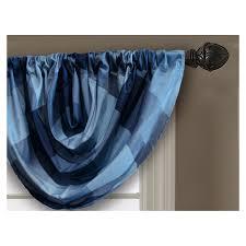 shop allen roth emilia 36 in blue polyester rod pocket valance