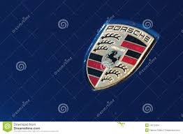 porsche logo porsche logo on blue sport car editorial stock image image 14572434