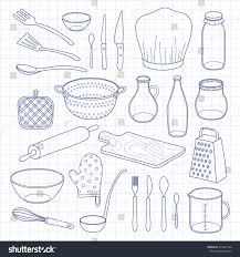 kitchen design graph paper hand drawn outline kitchen utensils isolated stock vector