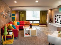 splendid family room decorating ideas with great red sofa front