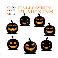halloween pumpkin face silhouettes clipart for print black