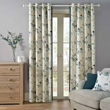 Teal Curtains Oriental Burst Teal Lined Eyelet Curtains Dunelm