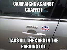 caigns against graffiti tags all the cars in the parking lot
