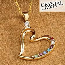 necklace for mothers personalized s heart birthstone pendant necklace 18k gold