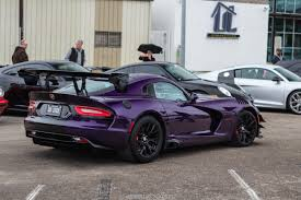 Dodge Viper Lime Green - purple acr viper making a prompt exit on a rainy morning oc