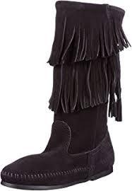 womens fringe boots size 11 amazon com minnetonka s 3 layer fringe boot mid calf