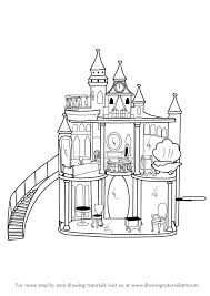 learn draw barbie doll castle barbie step step