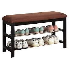 upholstered bench shoe rack entry hallway storage organizer