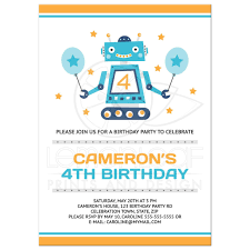 birthday party rsvp robot birthday party invitations for kids yellow orange and blue