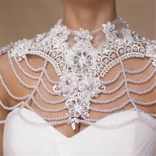 wedding dress accessories diamond pearl bead flower lace shoulder chain bridal wedding