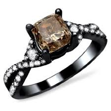 Chocolate Diamond Wedding Rings by Black Gold Cushion Cut Brown Diamond Engagement Ring Unusual