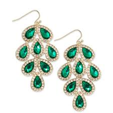 Colorful Chandelier Earrings Inc International Concepts Goldtone Green Stone Leaf Chandelier