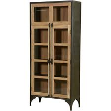 Modern Curio Cabinets Industrial Mango Wood U0026 Iron Standing Curio Cabinet