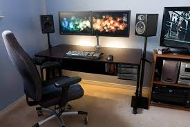 Small Desk Speakers Adorable Two Computer Desk Setup Extraordinary Two Computer Desk