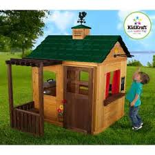 Wooden Backyard Playhouse Outdoor Wooden Playhouse With Slide Loccie Better Homes Gardens