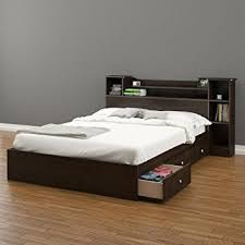 Bed With Bookshelf Headboard Amazon Com Pocono 3 Drawer Storage Bed With Bookcase Headboard