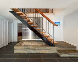 black staircase entryway with stairs staircase midcentury with black railing black