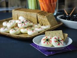 halloween party appetizer cheesy eyeballs hgtv