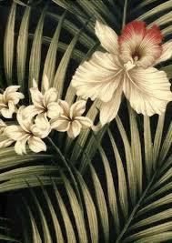Tropical Upholstery Fern Black Tropical Hawaiian Orchid U0026 Plumeria Flowers Cotton