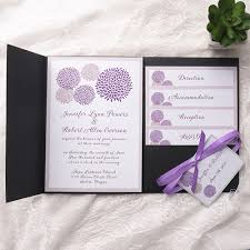 pocket invitation kits cheap purple dandelion black pocket wedding invitation kits