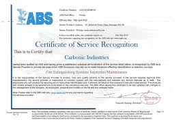 bureau of shipping approvals carbonic industries
