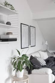 decordots monochrome scandinavian style living room green plant