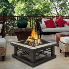 Patio Table With Built In Fire Pit - real flame crestone 34 in steel framed wood burning fire pit with