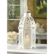 wholesale white filigree design candle lantern frosted glass panels