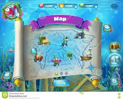 Atlantis Map Atlantis Ruins With Fish Rocket Level Game Map Stock Vector