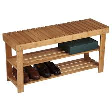 Seated Storage Bench Household Essentials 2 Tier Shoe Storage Bench Bamboo Target